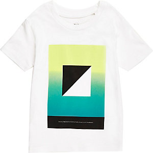 Mini boys white square print t-shirt