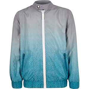 Boys blue ombré bomber jacket