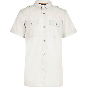 Boys light grey military shirt