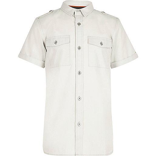 Boys light grey military shirt