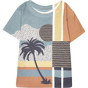 Mini boys white palm tree print t-shirt
