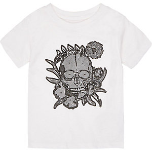 Mini boys white flocked skull print t-shirt
