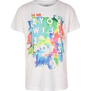 T-shirt imprimé éclaboussures de peinture blanc pour garçon