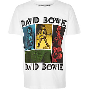 Boys white David Bowie print t-shirt