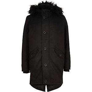 Boys black faux fur padded parka