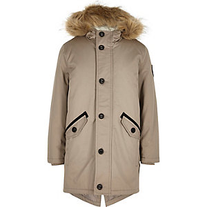 Boys grey faux fur padded parka