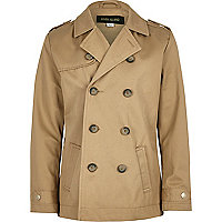 Boys stone traditional mac coat