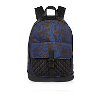 Boys navy camo quilted backpack