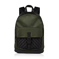 Boys khaki quilted backpack