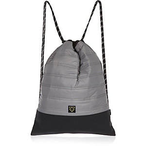 Boys grey quilted drawstring bag