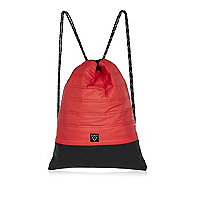 Boys red quilted drawstring bag