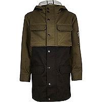 Boys khaki panel lightweight utility coat