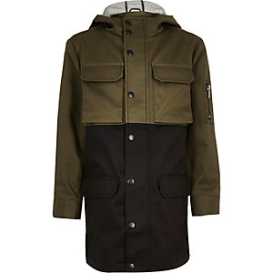 Boys khaki panel lightweight utility coat