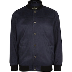 Boys navy faux suede bomber jacket
