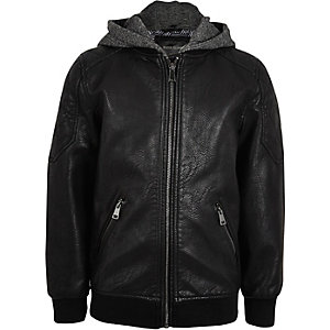 Boys black hooded leather look bomber