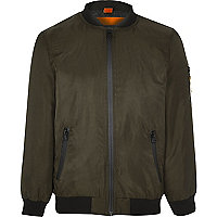 Boys khaki green padded bomber jacket
