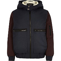 Boys navy borg lined bomber jacket