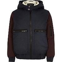 Boys navy fleece lined bomber jacket