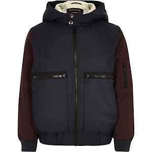 Boys navy fleece lined bomber jacket