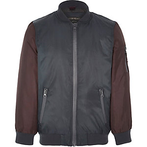 Boys red colour block padded bomber jacket