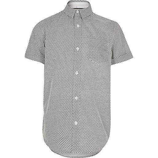 Boys black geometric print short sleeve shirt