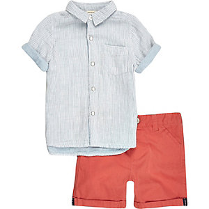 Mini boys blue stripe shirt shorts outfit