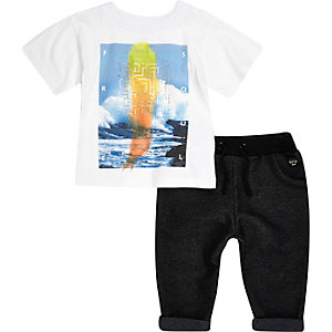 Mini boys white sea t-shirt joggers outfit