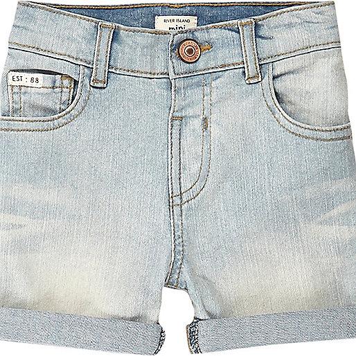 Mini boys light blue wash denim shorts