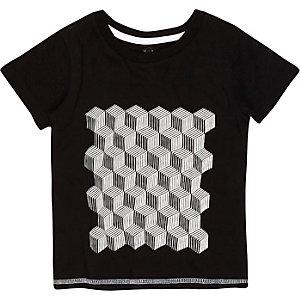 Mini boys black geometric print t-shirt