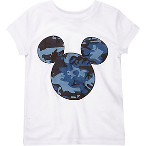 Mini boys white Mickey Mouse print t-shirt