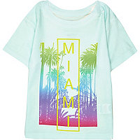 Mini boys turquoise Miami print t-shirt