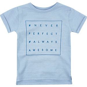 Mini boys blue marl print t-shirt