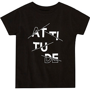 Mini boys black print t-shirt