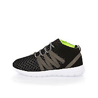 Boys black fluro lined trainers