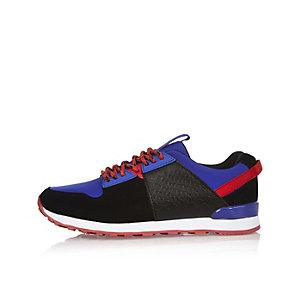 Boys bright blue croc effect trainers