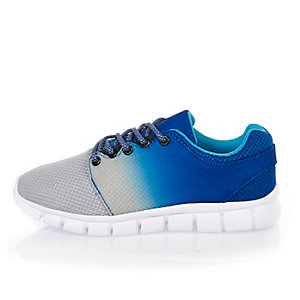 Boys blue faded runner sneakers