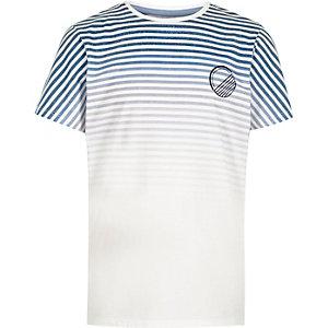 Boys navy stripe print t-shirt