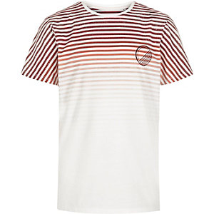 Boys red strip print t-shirt