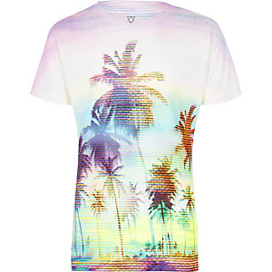 Boys white palm tree print t-shirt