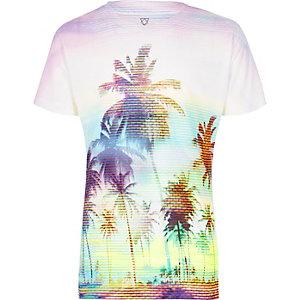 T-shirt imprimé palmiers blanc pour garçon