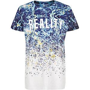 Boys white reality print t-shirt