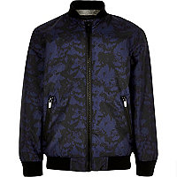 Boys navy camo bomber jacket