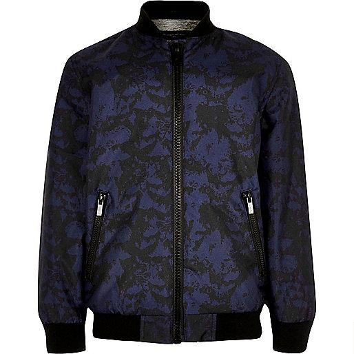 Boys navy camo bomber jacket