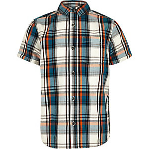 Boys ecru checked short sleeve shirt