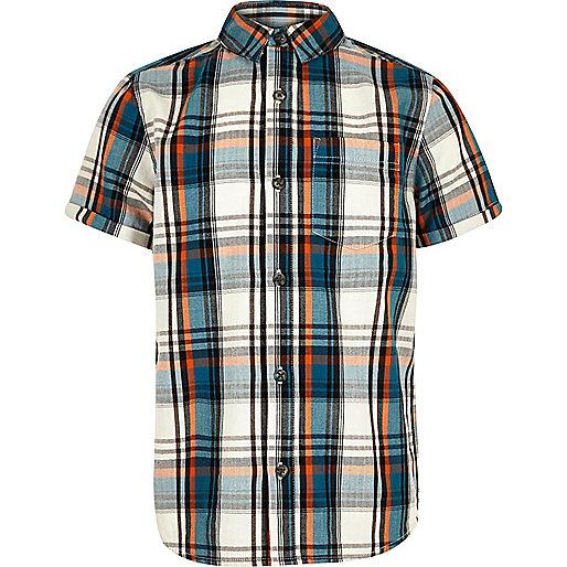 Boys ecru checked short sleeve shirt