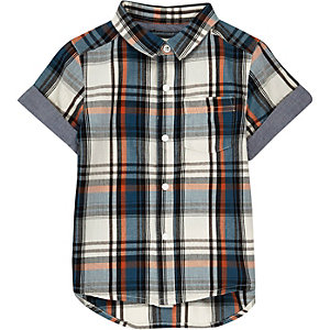 Mini boys ecru checked short sleeve shirt