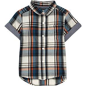 Chemise à carreaux écrue avec manches courtes pour mini garçon