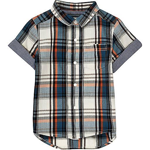 Mini boys ecru checked short sleeve shirt