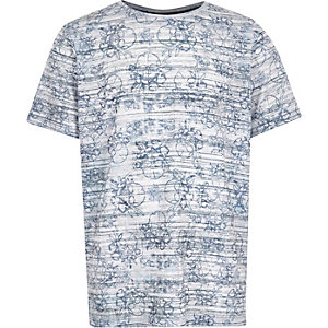Boys blue skull print t-shirt