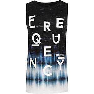 Boys black frequency print tank